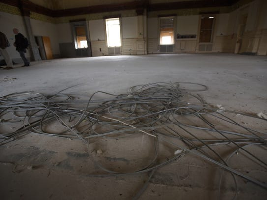 Wires are all over the floor at the original library