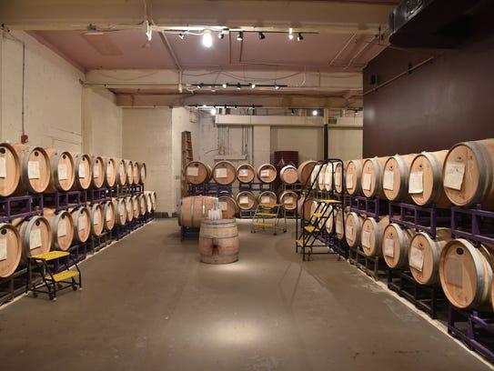 Barrels of wine at California WineWorks in Ramsey, NJ.