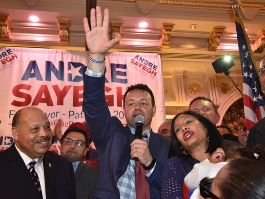 Andre Sayegh celebrates victory as the new Mayor Elect