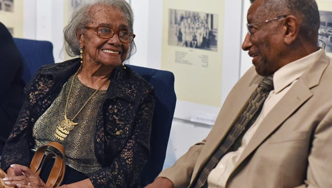 During a school segregation/desegregation musuem exhibit at  the African American History Museum of Southern New Jersey , Frances Swan, in her 100th year, talked with Rev. David Mallory, both were Bordentown students.  Oct. 9, 2015.