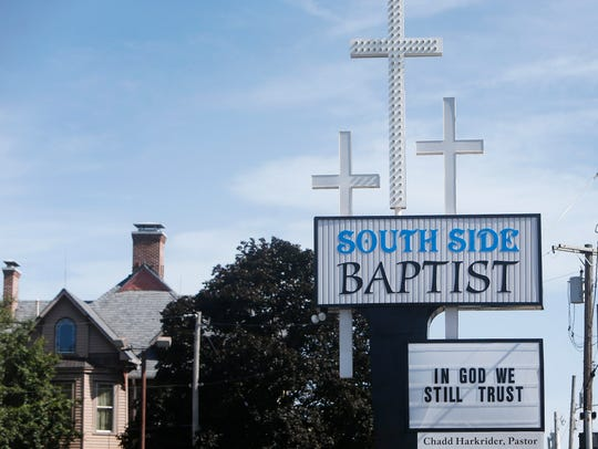 The sign outside of the South Side Baptist Church on