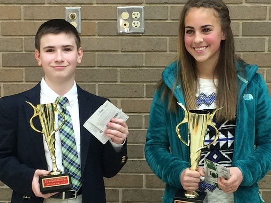Winners of Richmond's citywide intermediate spelling bee were Payton Vanmiddlesworth, right, first place, and Mitchel Parker, runner-up.