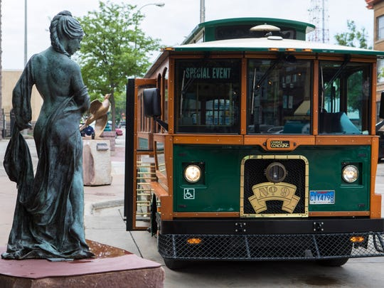 The trolley is shown in downtown Sioux Falls, S.D. on Wednesday, May 30, 2018.