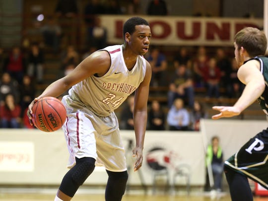 University of Indianapolis' Jordan Loyd competes against
