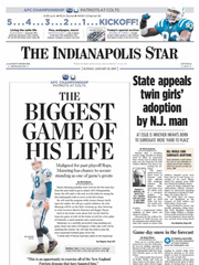 The front page of The Indianapolis Star on Jan. 21,