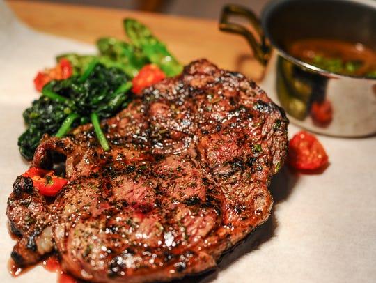 A prime U.S. rib eye steak and a serving of hunter