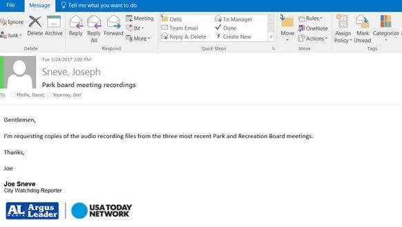 Watchdog reporter Joe Sneve sent a records request