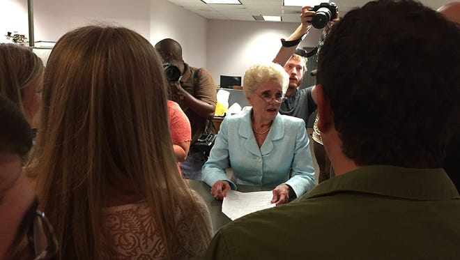Same-sex couples seek marriage licenses at the Hinds County Courthouse Friday, June 26, 2015. No marriage licenses for same-sex couples were issued.