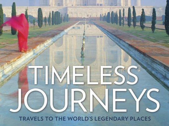 "This undated image provided by National Geographic shows the cover of ""Timeless Journeys: Travels to the World's Legendary Places."" The coffee table-style book explores 50 once-in-a-lifetime destinations around the globe, from places that offer a window on lost worlds, like Pompeii in Italy, to living wonders like a Tanzania game preserve."