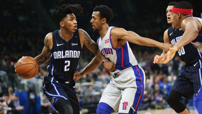 The Orlando Magic's Elfrid Payton (2) drives against the Detroit Pistons' Ish Smith (14) in the first half at Amway Center in Orlando, Fla., on Thursday, Dec. 28, 2017. The Magic won, 102-89.