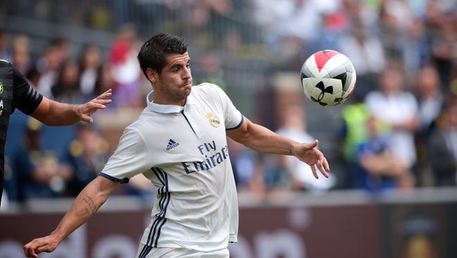 Real Madrid forward Alvaro Morata (21) controls the ball during the International Champions Cup friendly game against Chelsea FC at Michigan Stadium on Saturday, July 30, 2016, in Ann Arbor, MI.