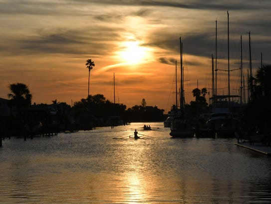 Oars & Paddles Park in Indian Harbour Beach at sunset.