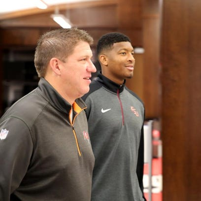 Jameis Winston and GM Jason Licht check out the Buccaneers