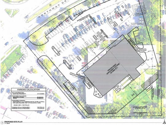 Proposed site plans for a Coborn's Inc. grocery store on Northway Drive at the site of the former YMCA building.