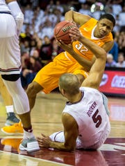 Jan 20, 2018; Columbia, SC, USA; Tennessee Volunteers guard Chris Darrington (32) is called for charging into South Carolina Gamecocks guard Frank Booker (5) in the first half at Colonial Life Arena. Mandatory Credit: Jeff Blake-USA TODAY Sports