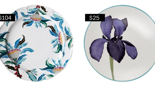 Paradise Found dinner plates, left, ($104 for four, anthropologie.com); Colorwave floral appetizer plates in turquoise ($25 for set of four, bedbathandbeyond.com).