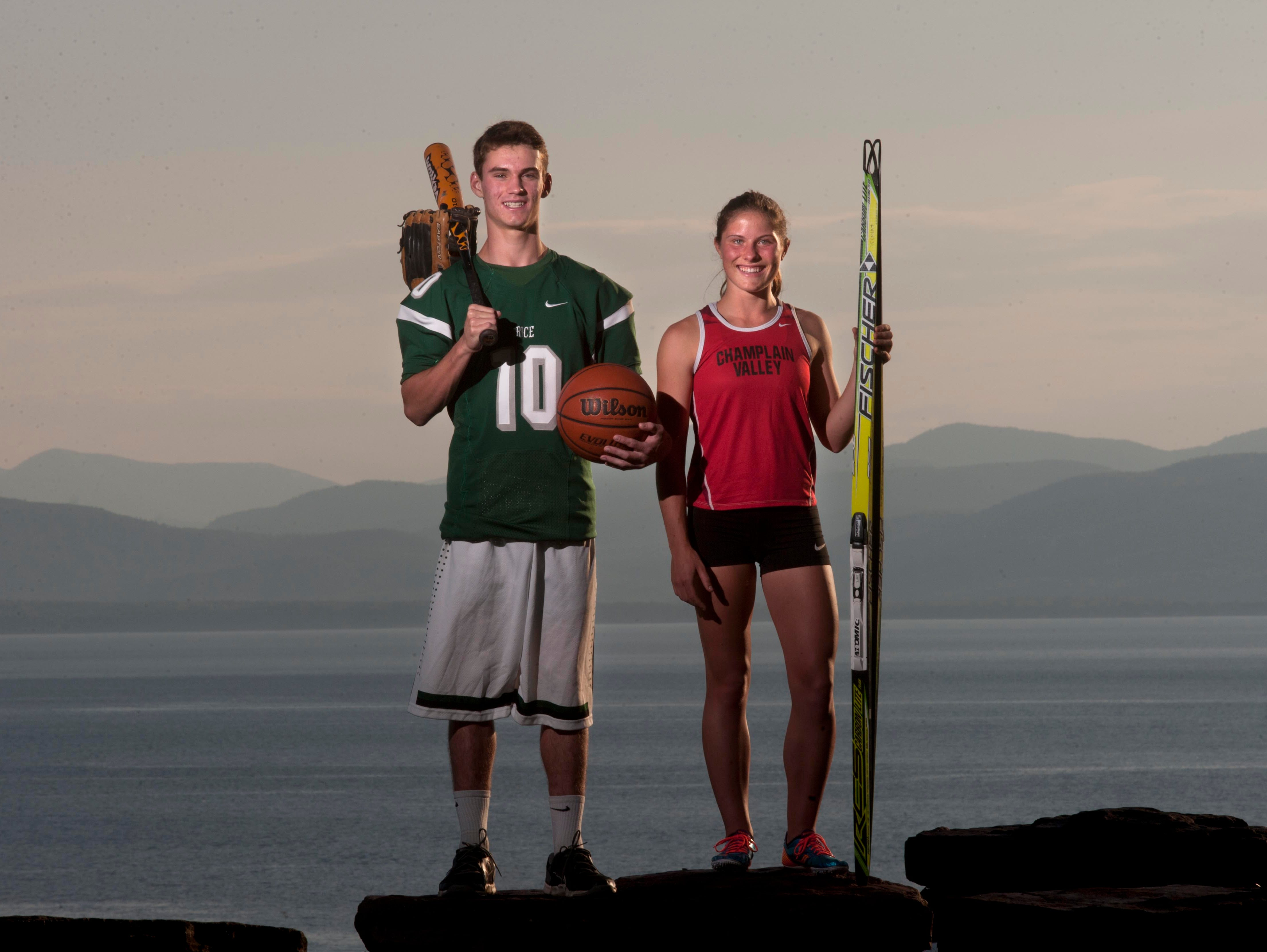 Athletes of the Year Tommy Fitzgerald of Rice Memorial and Autumn Eastman of CVU, seen at Battery Park in Burlington on Thursday, June 26, 2014.
