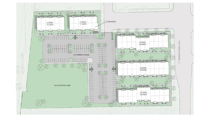 Eight two-story townhouses with 10 to 12 units in each building are planned for the approximately five-acre site near the airport.