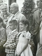 Liz Garst is pictured in a 1959 photo of the historic visit of Nikita Khrushchev (back left) at the Garst Farm. The Home Farm B&B is part of the Garst Farm Resorts in Coon Rapids.