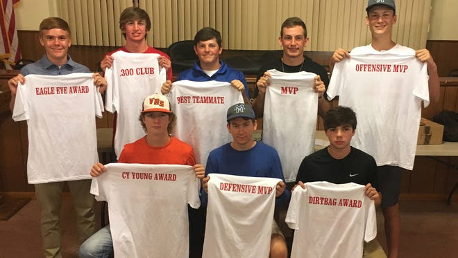 The Mountain Home American Legion Baseball program held its annual awards banquet Friday night at the Alley-White Post 52 Legion Hut. Award winners pictured from the MacLeod Junior Legion team are: (first row, from left) Carter Graves, pitching award; Michael Kreager, defensive MVP; Charlie Phillips, dirtbag award; (second row) Kollin Kendrick, eagle eye award; Jake Hutson, .300 club; Tyler Smith, teammate award; Carter Bagwell, most valuable player; and Will Uchtman, offensive MVP.