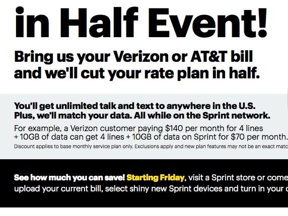 Sprint's ad promising to cut your bill in half