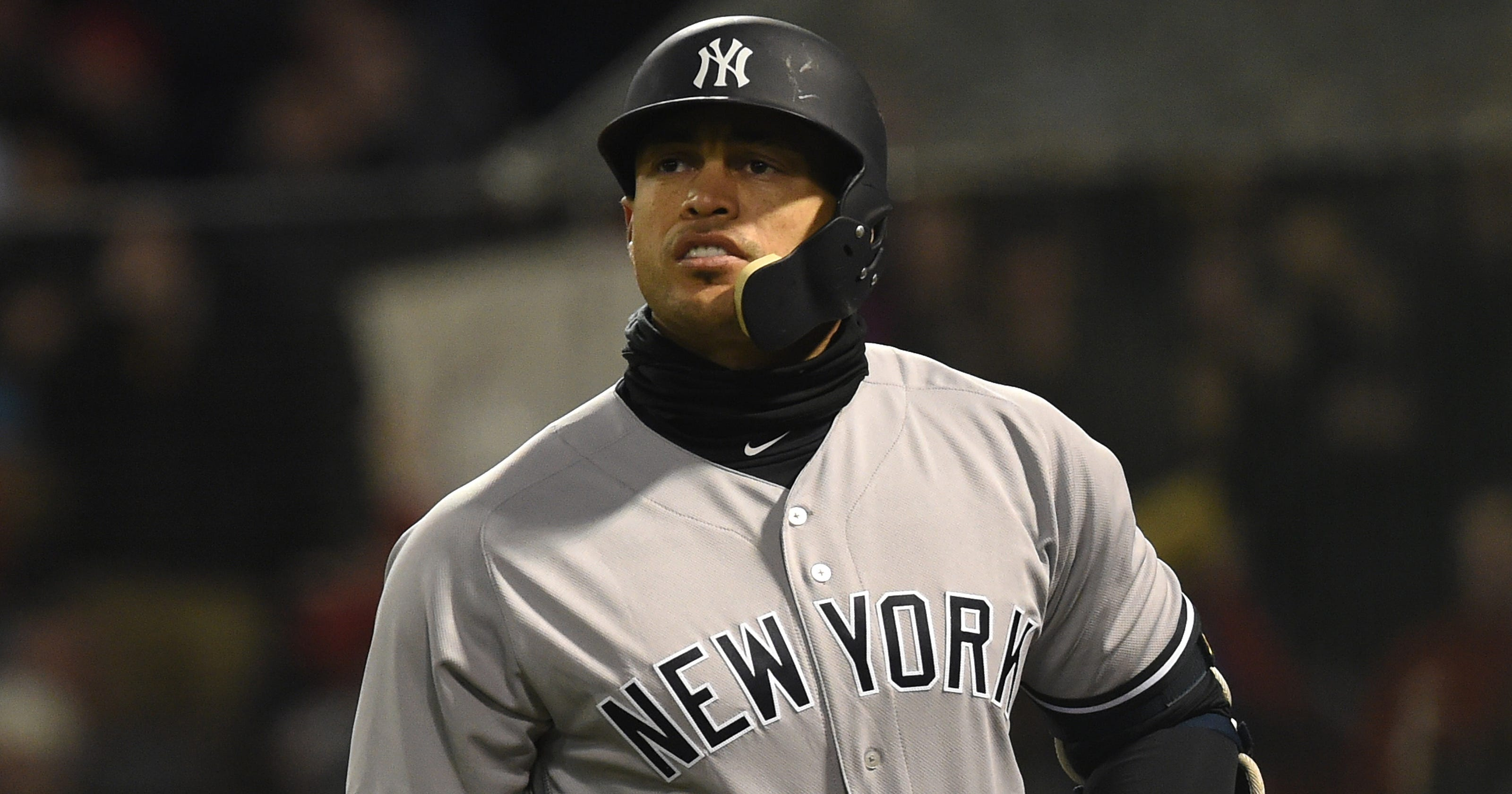 premium selection f975c 8a296 Yankees' Giancarlo Stanton forced to face music in blowout loss
