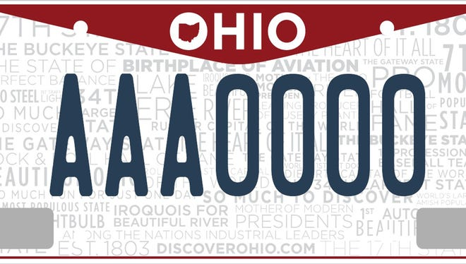 A sample Ohio license plate. Lawmakers are debating whether to keep or enforce the state's requirement that drivers have plates on the front of their cars.