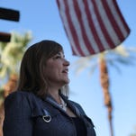 U.S. Senate candidate Loretta Sanchez, who represents central Orange County in the U.S. House, speaks with Democratic organizers in Cathedral City Saturday.