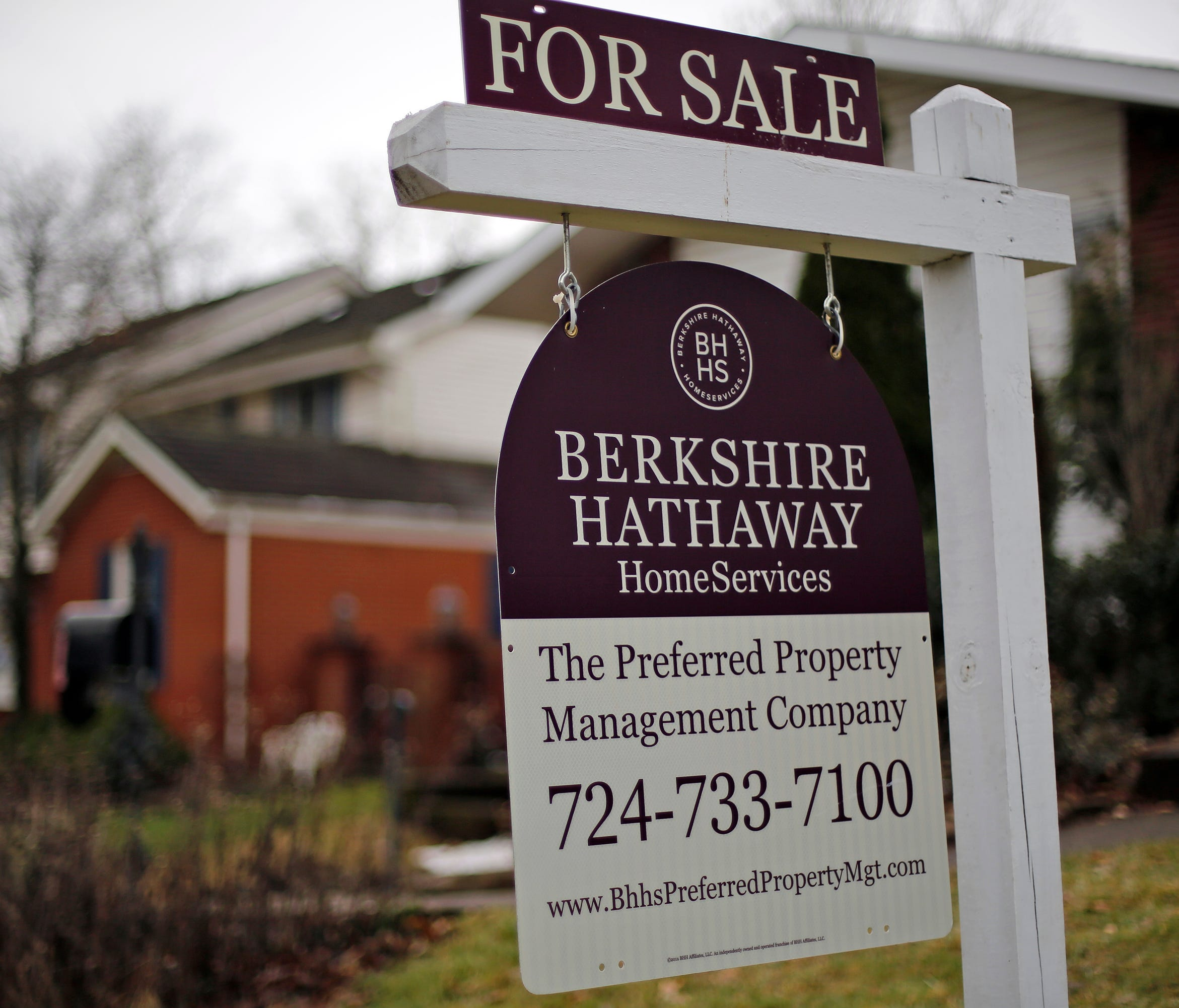 This is a for sale sign in front of a home in Mount Lebanon, Pa.,