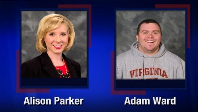 Reporter Alison Parker (L) and photographer Adam Ward (R) who were shot and killed by a gunman while interviewing a woman on live television in Smith Mountain Lake, Va.