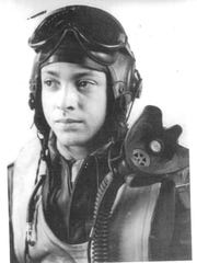 George Hardy suited up as World War II P-51 pilot in Italy in 1945.