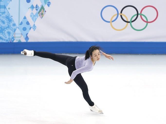 SOCHI, RUSSIA - FEBRUARY 06:  Figure skater Mao Asada of Japan practices at the Iceberg Skating Palace on February 6, 2014 in Sochi, Russia.