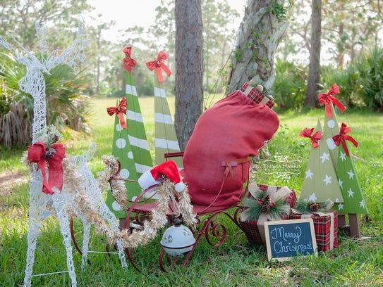 A set Trisha Harris set up for Christmas card photos