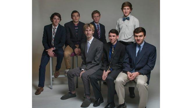 The All-Shore Boys Cross Country team of (back row) Blaise Ferro, Nick Trigani, Sean Martinek and Ryan Rafferty, (front row) Kyle Mueller, John Flavin and Aaron Barlev.
