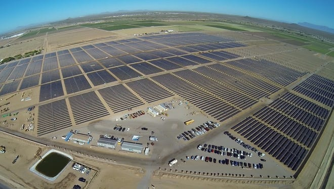 SRP is negotiating to take power from two battery projects, one of which will be supplied by a solar farm like this one built  in Florence for Apple.