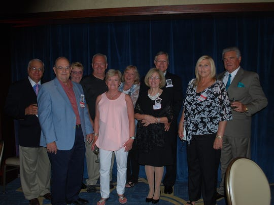 Members of the Class of 1966 from Saint Peter's High School in New Brunswick  gathered at The Imperia on Easton Avenue in Somerset on June 4 to celebrate their 50-year reunion.  Above, five couples who entered Saint Peter's High School as 9th graders in 1962 eventually married and are still married after 40 plus years. Back row, left to right, are Paul Matacera, Marylynn Lynch Matacera, Rich Verasca, Jean Toth Verasca, Tom Egan, and Tim Rudolph; front row, left to right, are Dave D'Alonzo, Patti Kenny D'Alonzo, Sandy DeCaro Egan, and Reggie Prendergast Rudolph.  A –four hour cocktail reception with food stations and music supplied by Turnpike Mike for dancing greeted the 80 graduates and 21 guests who enjoyed the company of classmates (some of which had not seen each other in 50 years). The Holiday Inn in Somerset hosted the out-of-town guests and PJ Cavanaugh's Pub off the hotel lobby was the gathering place for conversation and refreshments the night before the main event. Attendees are looking forward to their next reunion, Dave D'Alonzo said.