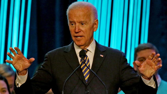 Former Vice President Joe Biden gives the keynote address, on the subject of stopping sexual assault, at the Association of Fraternal Leadership & Values (AFLV) and National Black Greek Leadership Conference at the JW Marriott Grand Ballroom, Friday, Feb. 9, 2018.