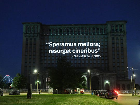 """Speramus meliora resurget cineribus"" projected onto"