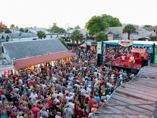 Love & Theft performs on the Duval Street Main Stage on Day 4 of the 2014 Key West Songwriter's Festival in Key West, Fla.