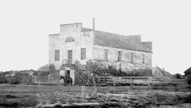 This is probably the oldest known photograph of Corpus Christi. It shows Edward Ohler's building at the corner of Peoples and Water, in the early 1850s, not long after it was built in 1849. In the early years, the Ohlers lived upstairs and operated a mercantile store below.