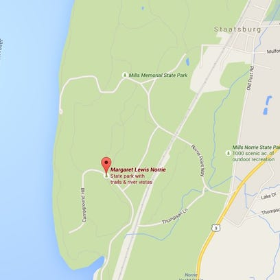 A New York City man died in a 30-foot fall at Margaret Lewis Norrie State Park in Staatsburg Saturday.
