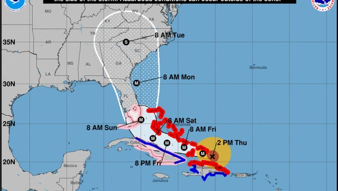 Hurricane Irma track update as of 5 p.m. advisory Thursday, Sept 7