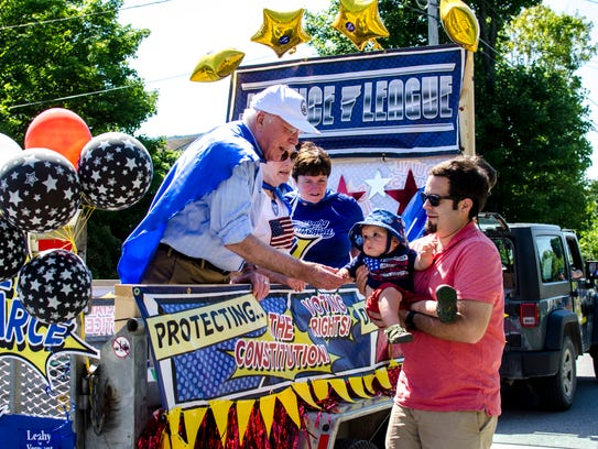 Patrick Leahy greets George Martin and his baby, Patrick,