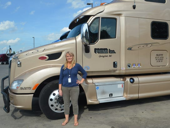Sarah Gauthier is training to become a truck driver.