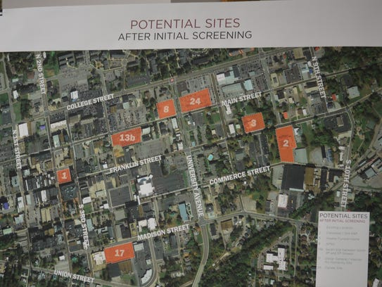 A map of the 7 shortlisted potential sites for the
