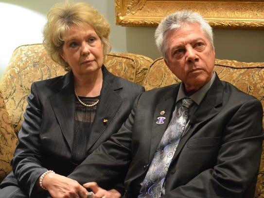 Rex Cummings and his wife Deborah Cummings at the funeral