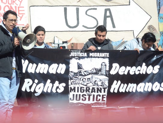 A rally against the arrests of undocumented workers