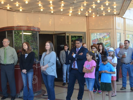 A crowd gathers at the Wichita Theatre May 24 for a