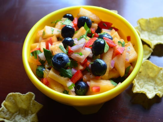 This Blueberry Cantaloupe Salsa is fantastic on salmon