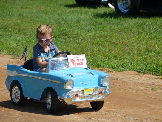 Nathan Randazzo, 4, of Sewell takes his car for a ride